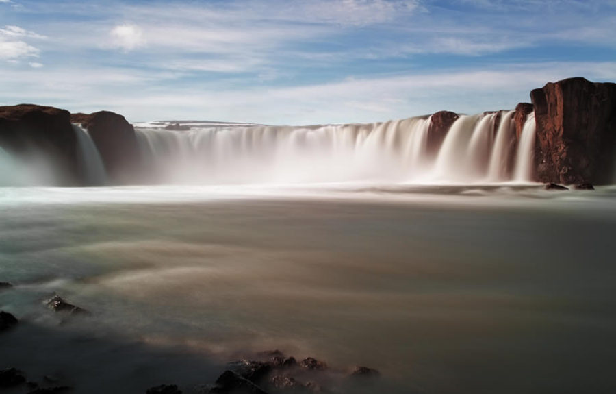 Godafoss waterfalls with mountain in iceland s