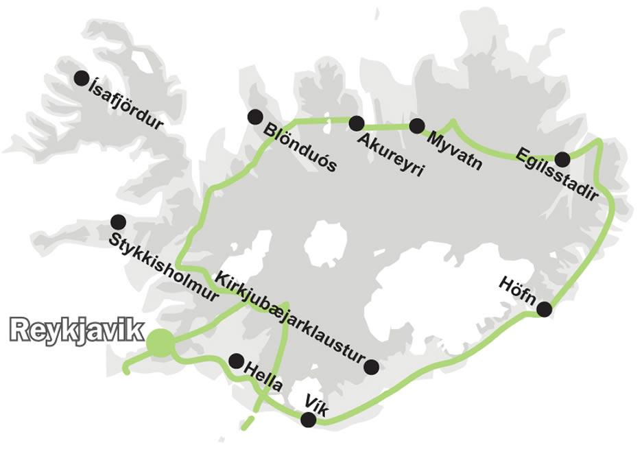 Mappa - cartina tour organizzato in Islanda - IT17 Da Vicino