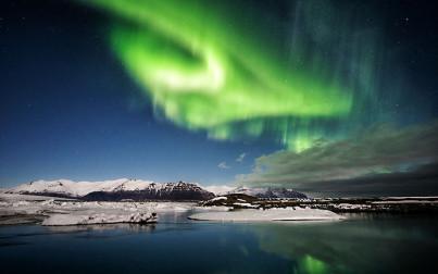 aurora boreale in Islanda Jokulsarlon