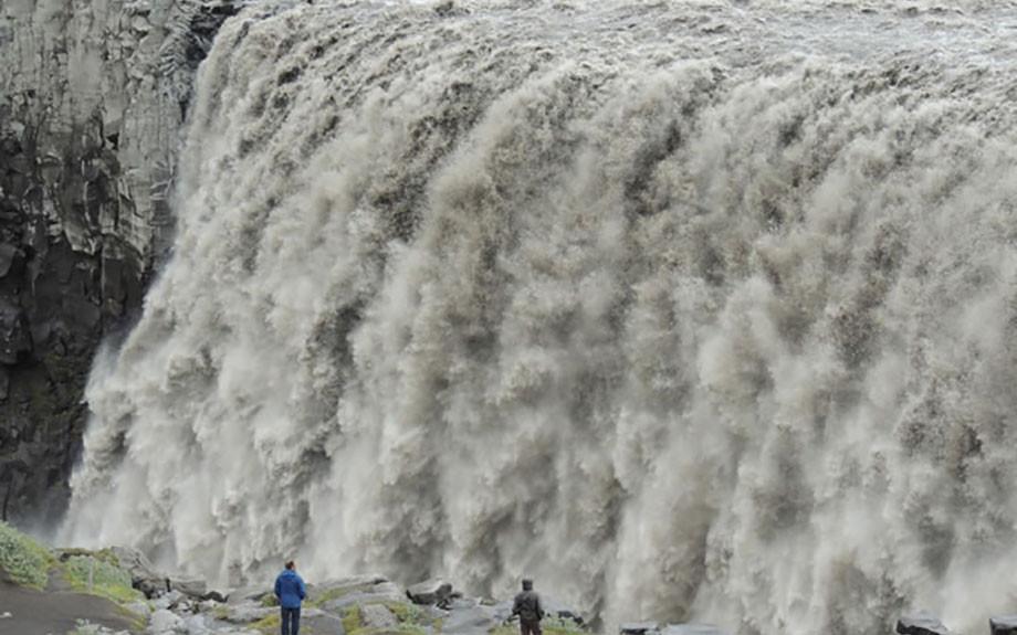 particolare della cascata di Dettifoss
