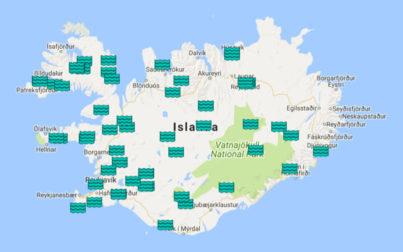 cartina islanda - piscine e bagni termali - pozze calde