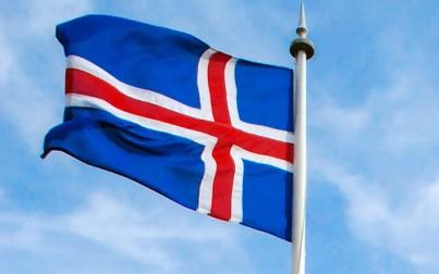 dettaglio della bandiera islandese