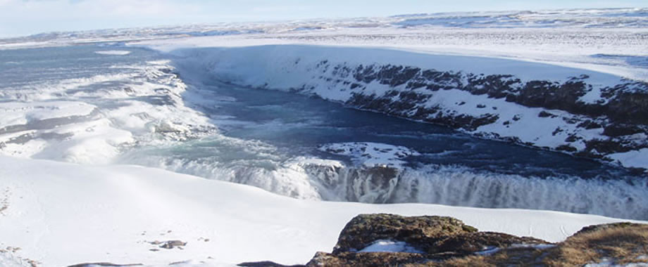 La cascata di Gullfoss in inverno