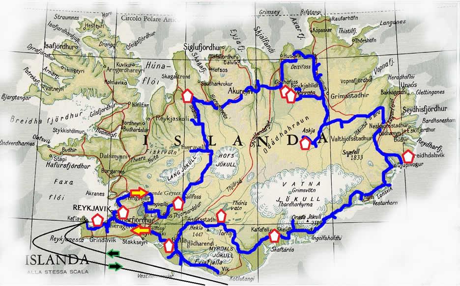 Mappa Islanda tour di 12 giorni