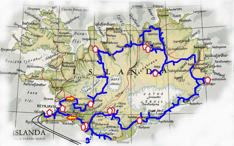 mappa islanda - tour 14giorni