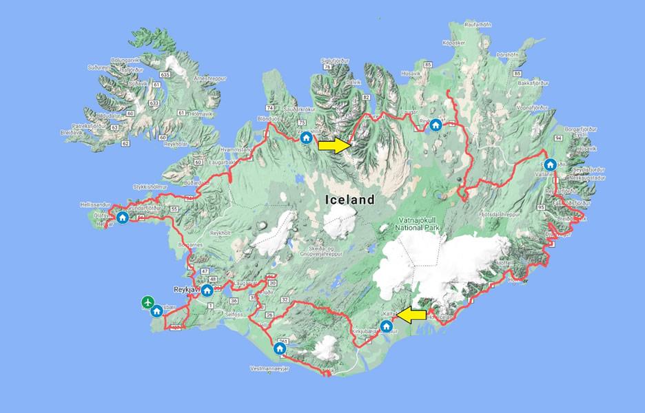 mappa Islanda - mini tour 9 giorni