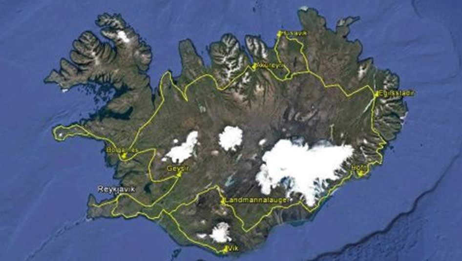 mappa - cartina Islanda in guesthouse