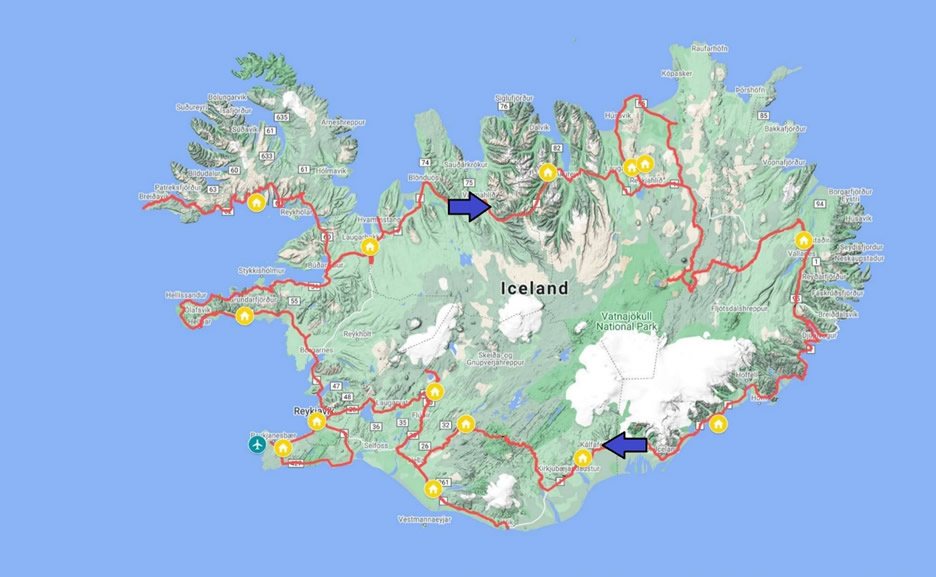 mappa islanda - il mitico gran tour