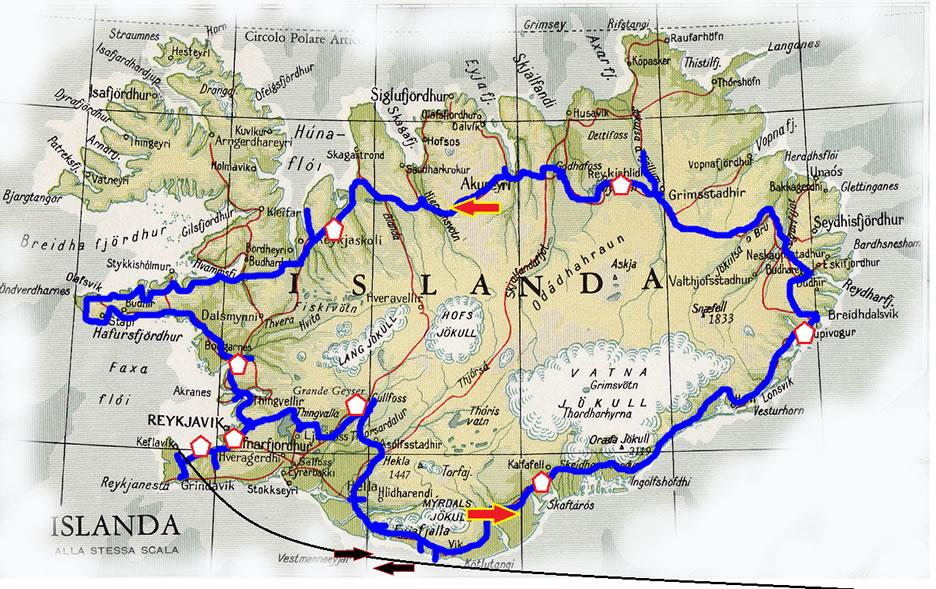 mappa islanda - tour aurore boreali - marzo 2021