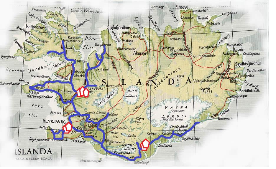 mappa tour in Islanda aurore boreali 5 dicembre