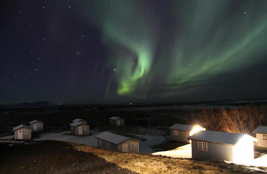 panorama con aurore boreali