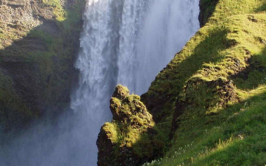 Dettaglio delle cascata di Skogafoss